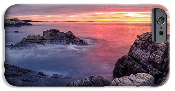 New England Lighthouse iPhone Cases - Portland Head Light and a Cloudy Sunrise iPhone Case by Scott Lynde