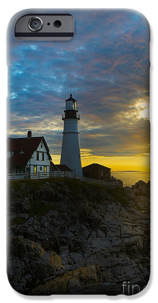 Lighthouse iPhone Cases - Portland Head Light at Dawn iPhone Case by Diane Diederich