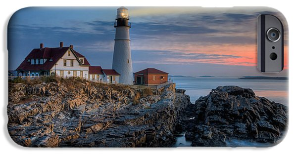 New England Lighthouse iPhone Cases - Portland Head Light at Sunrise I iPhone Case by Clarence Holmes