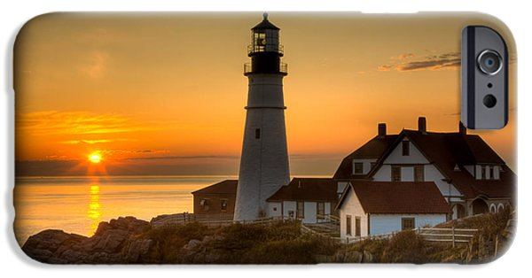 Downeast iPhone Cases - Portland Head Light at Sunrise II iPhone Case by Clarence Holmes