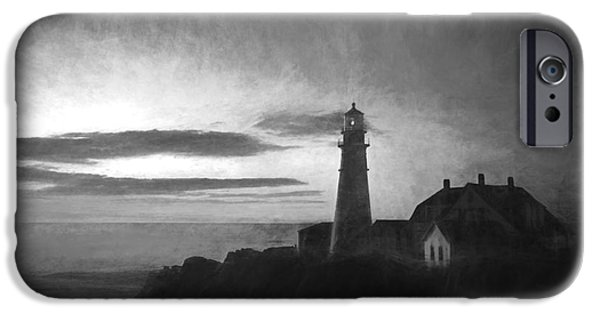 New England Lighthouse iPhone Cases - Portland Head Light at Sunrised iPhone Case by Diane Diederich