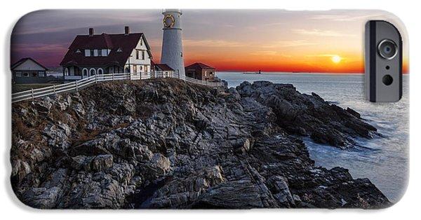 Maine iPhone Cases - Portland Head Light Awakes iPhone Case by Susan Candelario