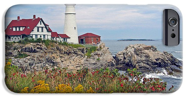 Lighthouse Pyrography iPhone Cases - Portland Head Light iPhone Case by Gale Field