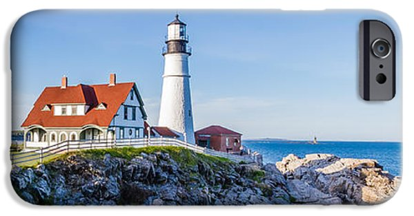 New England Lighthouse iPhone Cases - Portland Head Light House Cape Elizabeth Maine iPhone Case by Robert Bellomy