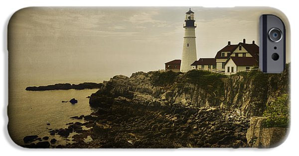 New England Lighthouse iPhone Cases - Portland Head Light II iPhone Case by Joan Carroll