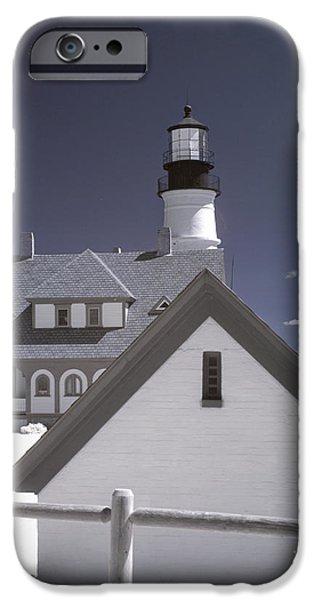 New England Lighthouse iPhone Cases - Portland Head Light in IR iPhone Case by Joann Vitali