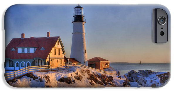 Recently Sold -  - Winter In Maine iPhone Cases - Portland Head Light - New England Lighthouse - Cape Elizabeth Maine iPhone Case by Joann Vitali