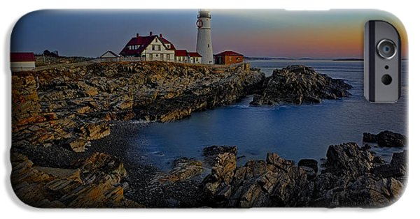 Maine iPhone Cases - Portland Head Light Sunrise iPhone Case by Susan Candelario