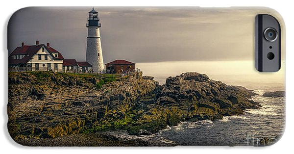 New England Lighthouse iPhone Cases - Portland Head Lighthouse 2014 iPhone Case by Joan Carroll