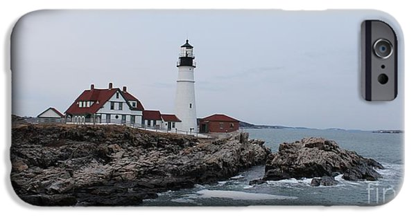 Nubble Lighthouse iPhone Cases - Portland Head Lighthouse 8557a iPhone Case by Joseph Marquis