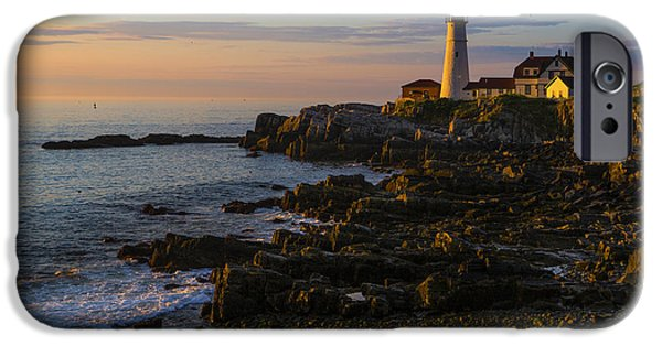 Morning iPhone Cases - Portland Head Lighthouse at Dawn iPhone Case by Diane Diederich