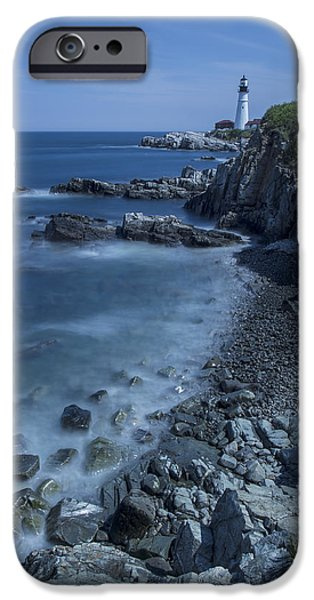 New England Lighthouse iPhone Cases - Portland Head Lighthouse Cape Elizabeth Maine iPhone Case by Andy Gimino