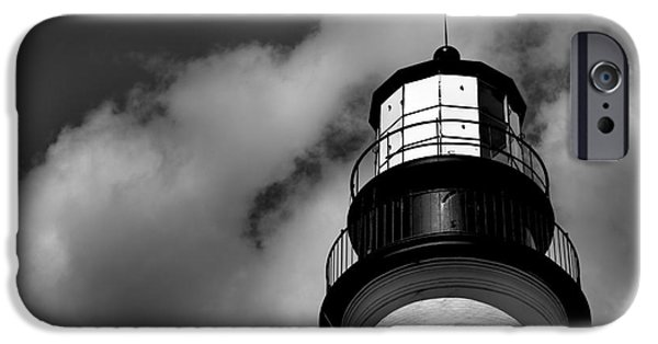 New England Lighthouse iPhone Cases - Portland Head Lighthouse in Black and White iPhone Case by Diane Diederich