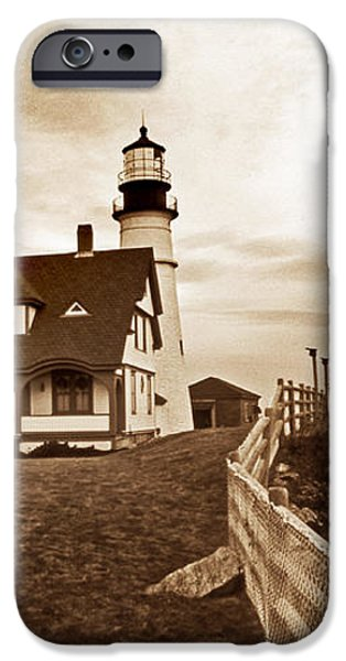 PORTLAND HEAD LIGHTHOUSE IN SEPIA iPhone Case by Skip Willits