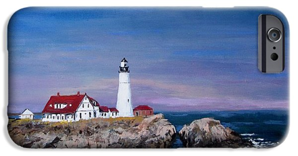 Jack Skinner Paintings iPhone Cases - Portland Head Lighthouse iPhone Case by Jack Skinner