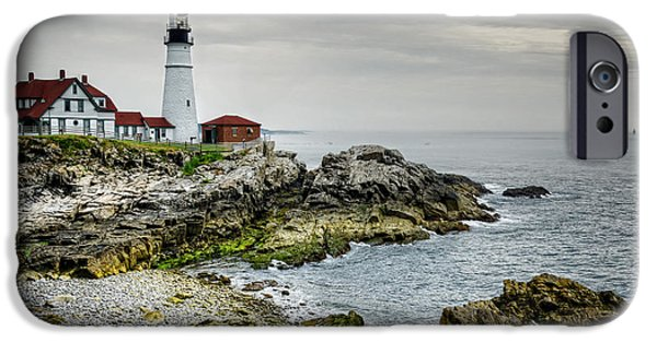 New England Lighthouse iPhone Cases - Portland Head Lighthouse iPhone Case by Joan Carroll