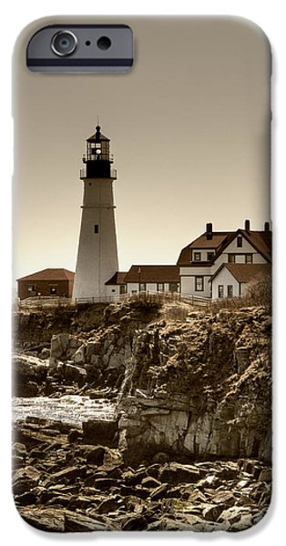 New England Lighthouse iPhone Cases - Portland Head Lighthouse iPhone Case by Joann Vitali
