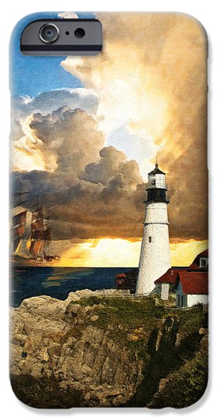 Coastal Decor Digital iPhone Cases - Portland Head Lighthouse iPhone Case by Lianne Schneider