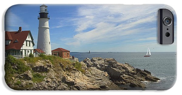 Rocky Digital Art iPhone Cases - Portland Head Lighthouse Panoramic iPhone Case by Mike McGlothlen