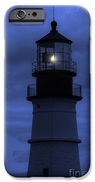 Dark Skies iPhone Cases - Portland Head Lighthouse Silhouette iPhone Case by Diane Diederich