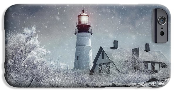 Winter In Maine iPhone Cases - Portland Head Lighthouse Snowstorm - Cape Elizabeth Maine iPhone Case by Joann Vitali