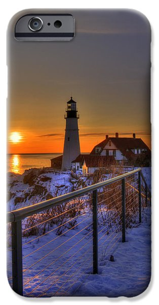 Winter In Maine iPhone Cases - Portland Head Lighthouse Sunrise - Maine iPhone Case by Joann Vitali