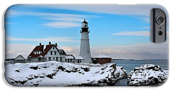 Winter In Maine iPhone Cases - Portland Head_9909 iPhone Case by Joseph Marquis