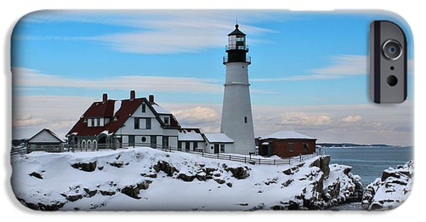 Winter In Maine iPhone Cases - Portland Head_9917 iPhone Case by Joseph Marquis
