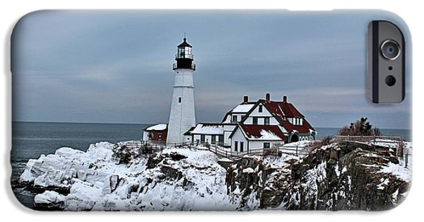 Winter In Maine iPhone Cases - Portland Head_9933 iPhone Case by Joseph Marquis