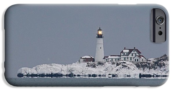 Winter In Maine iPhone Cases - Portland Head_9983 iPhone Case by Joseph Marquis