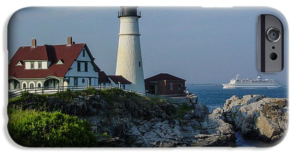 Maine Pyrography iPhone Cases - Portland Headlight with Cruise ship iPhone Case by PJ Gadoury
