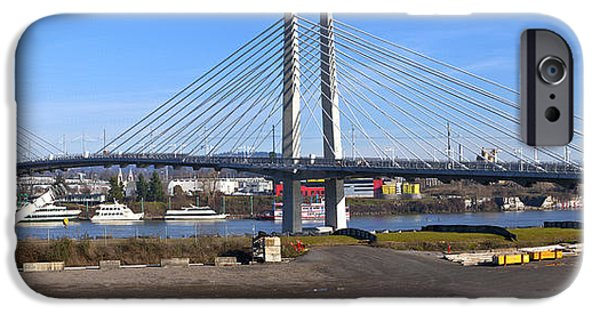 Sailboats iPhone Cases - Portland Oregon Tilikum crossing and pedestrian bridge panorama. iPhone Case by Gino Rigucci