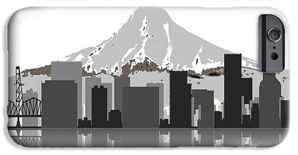 Nike iPhone Cases - Portland Oregon Skyline 2 iPhone Case by Daniel Hagerman