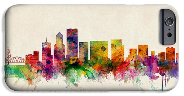 Oregon iPhone Cases - Portland Oregon Skyline iPhone Case by Michael Tompsett