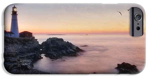 New England Lighthouse iPhone Cases - Portland Panorama iPhone Case by Lori Deiter