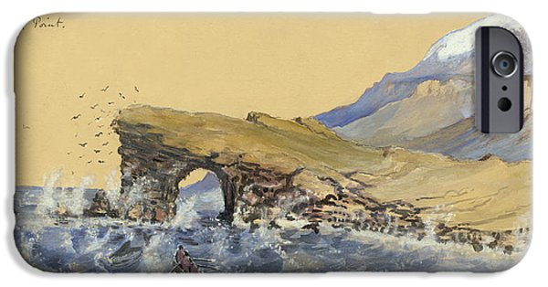 Rocks Drawings iPhone Cases - Portland Point natural Bridge Circa 1862 iPhone Case by Aged Pixel