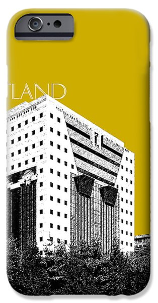 Pen And Ink iPhone Cases - Portland Skyline Ficha Building - Gold iPhone Case by DB Artist