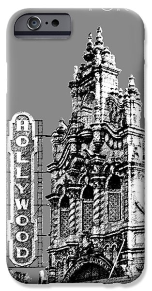 Pen And Ink iPhone Cases - Portland Skyline Hollywood Theater - Pewter iPhone Case by DB Artist