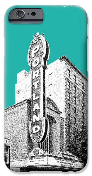 Pen And Ink iPhone Cases - Portland Skyline Portland Theater - Teal iPhone Case by DB Artist