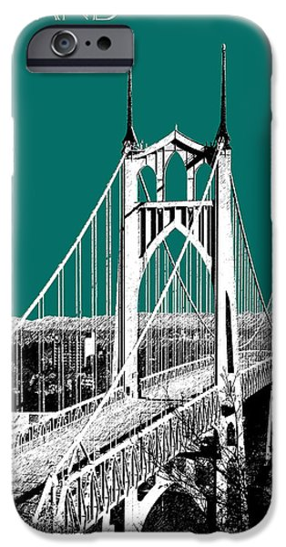 Architecture Digital iPhone Cases - Portland Skyline St. Johns Bridge - Sea Green iPhone Case by DB Artist