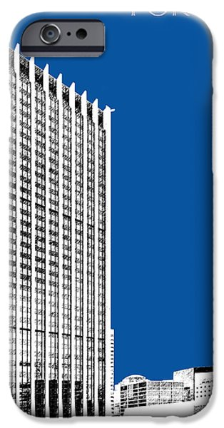 Pen And Ink iPhone Cases - Portland Skyline Wells Fargo Building - Royal Blue iPhone Case by DB Artist