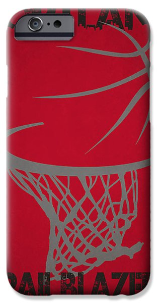 Dunk iPhone Cases - Portland Trail Blazers Hoop iPhone Case by Joe Hamilton