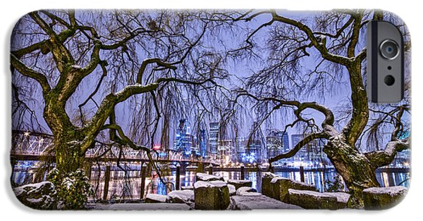 Winter Scene iPhone Cases - Portland Twin Trees iPhone Case by Darren  White