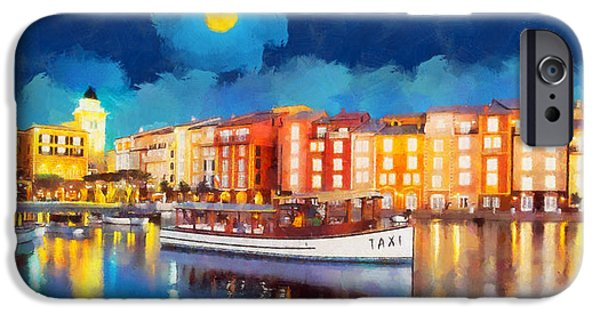 Sea Moon Full Moon Paintings iPhone Cases - Portofino by night iPhone Case by George Rossidis