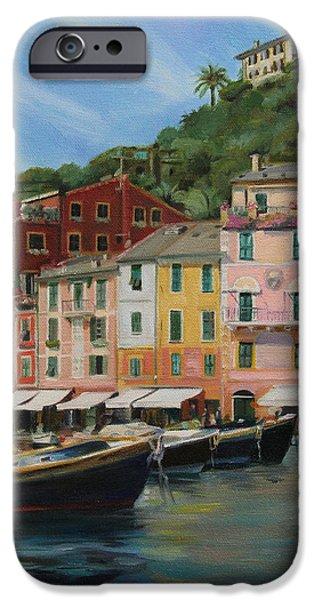 Portofino Cafe iPhone Cases - Portofino Summer iPhone Case by Emily Olson