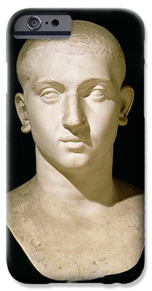 History Sculptures iPhone Cases - Portrait bust of Emperor Severus Alexander iPhone Case by Anonymous