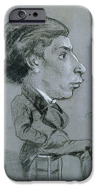 Caricature Portraits iPhone Cases - Portrait-charge, C. 1858 Black And White Chalk iPhone Case by Charles Marie Lhuillier