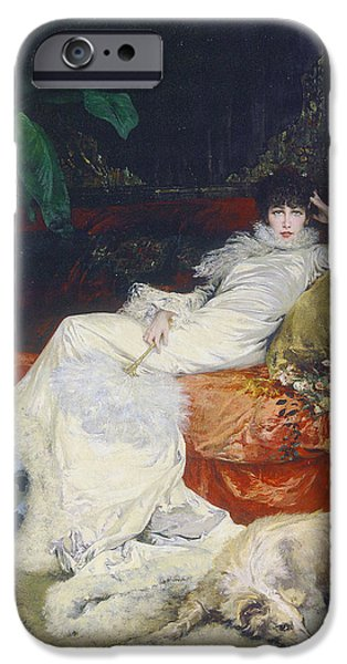 Vivid Drawings iPhone Cases - Portrait de Sarah Bernhardt iPhone Case by Celestial Images