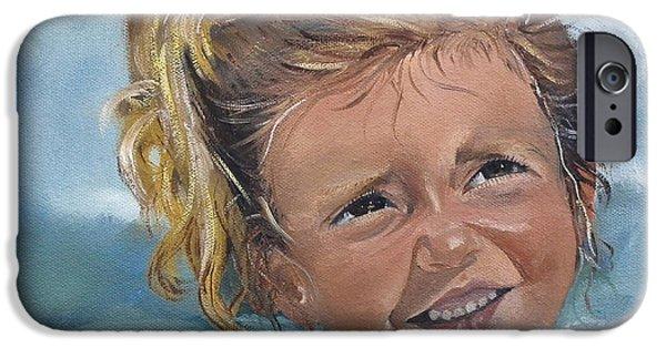 Child iPhone Cases - Portrait - Emma - Beach iPhone Case by Jan Dappen