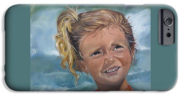 Innocence iPhone Cases - Portrait - Emma - Beach iPhone Case by Jan Dappen